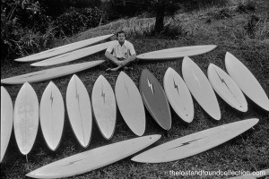 Tom Parrish with his North Shore quiver circa 1978.