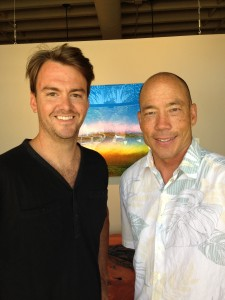 Surf Splendor Host David Scales with Aaron Chang in his gallery in Solana Beach.