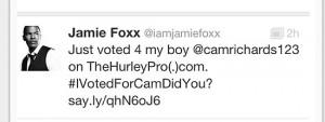 Jamie Foxx voted for Cam Richards.