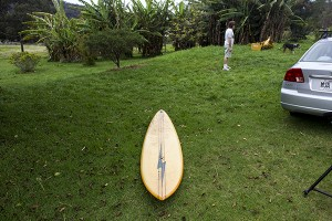 Charlie Smith's 1970's Waimea Gun shaped by Tom Parrish (in the background)