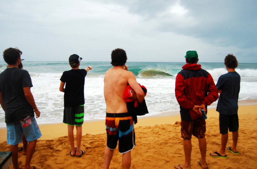 The crew checking the waves at Bluff.