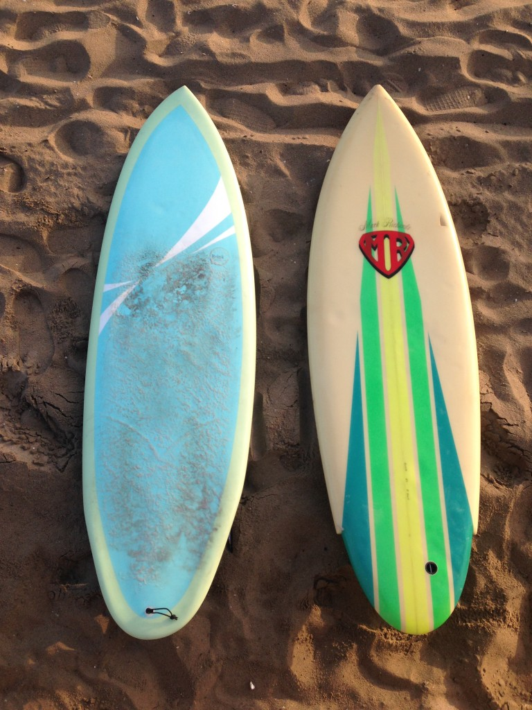 David's asymmetrical board shaped by Donald Brink (left) and the original reference board, an MR tri-fin.