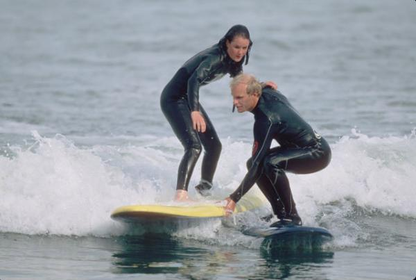 Schmidt's hands-on teaching technique is part of the reason for his 37 years of success at his surf school.