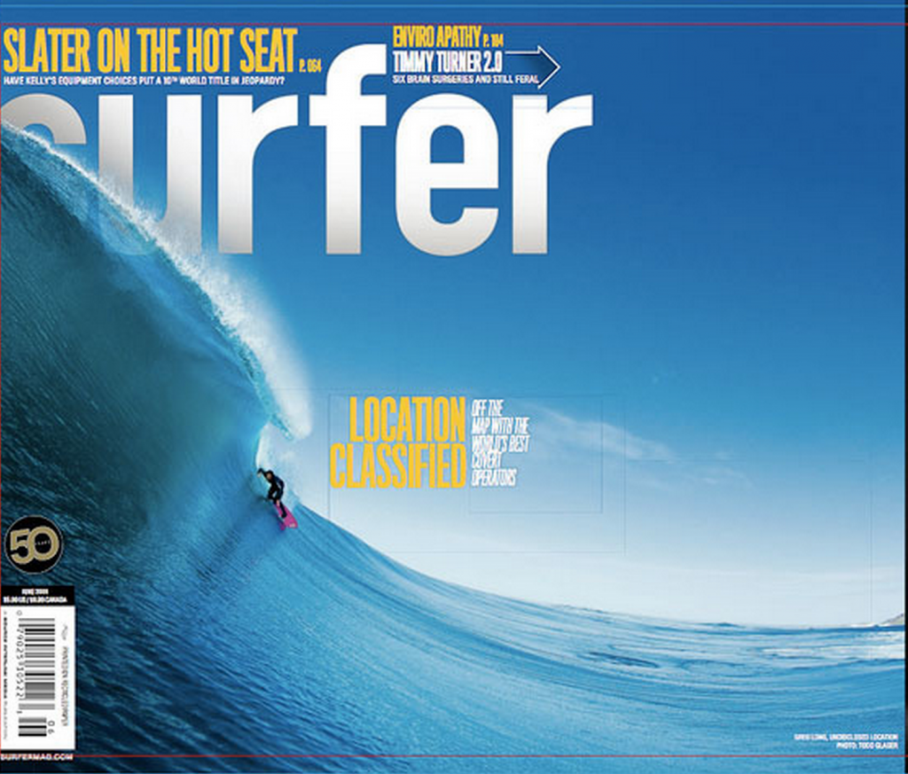 Todd's first major cover. Greg Long, Surfer Magazine, June 2009