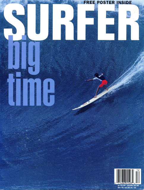 Richard Schmidt at Waimea Bay on the December 1991 issue of Surfer.