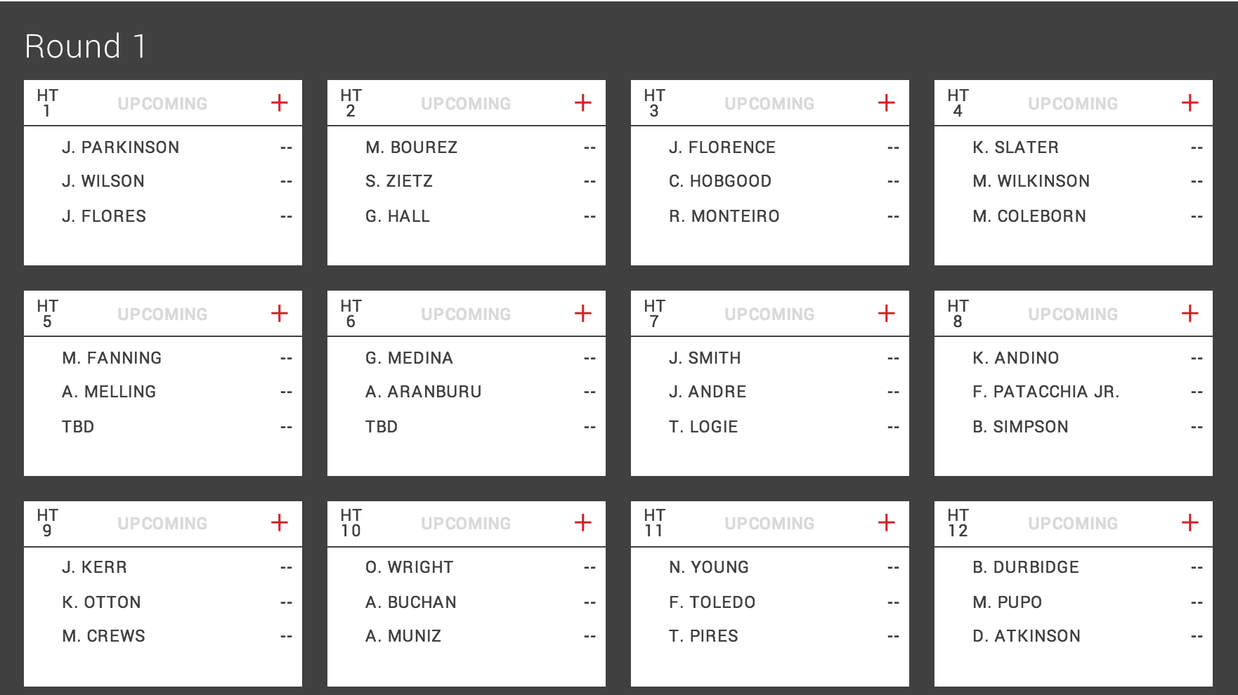 Round 1 Heat Draw for the Pipe Masters