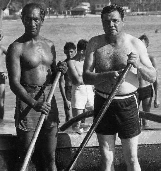 Duke Kahanamoku and Babe Ruth
