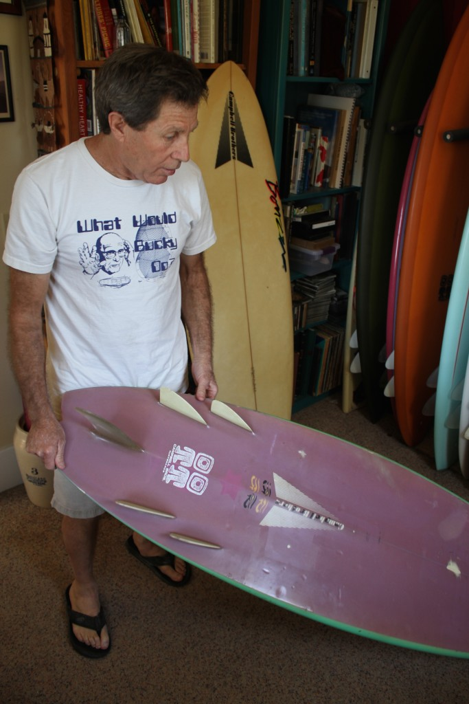 Malcolm with an early Bonzer shortboard.